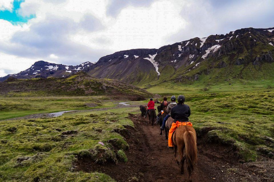 På hesteryg i det vulkanske område Hengill. North Travel. Rideferie.