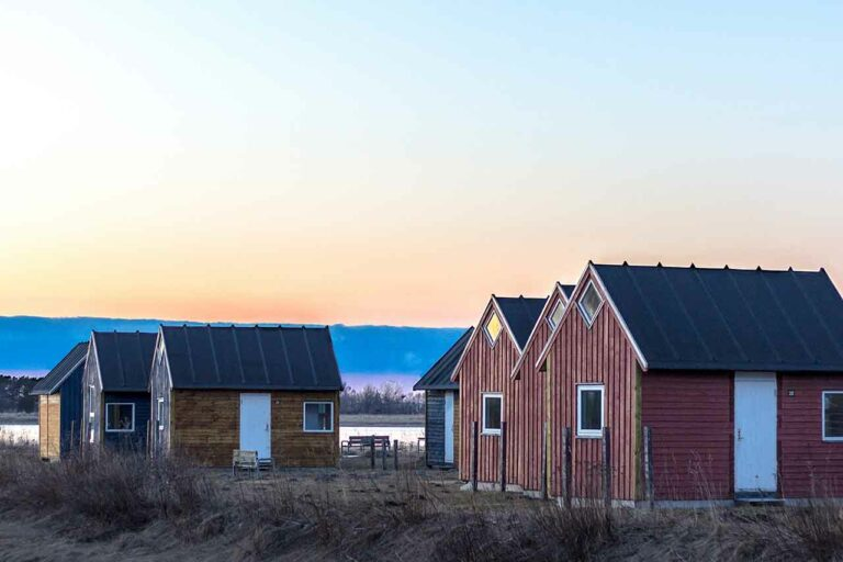 Small housing on a shoreside near the harbour in Aalborg