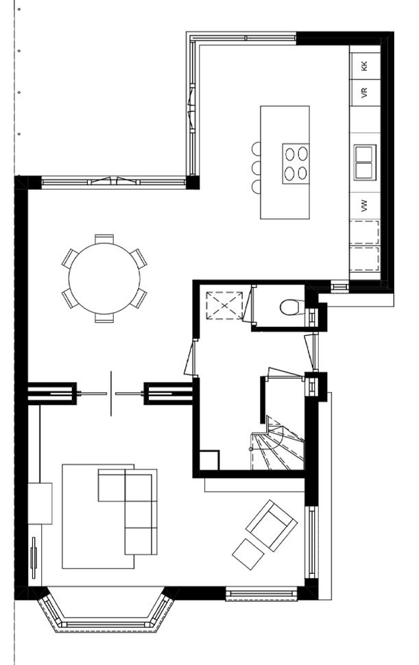 uitbouw architect Voorburg Den Haag plattegrond
