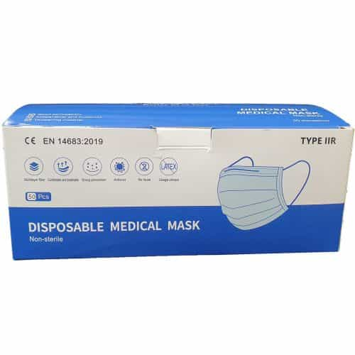 Type IIR Fluid Resistant 3 Ply Surgical Face Mask – 50pk