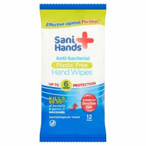 Sani Hands Anti-Bacterial 12 Hand Wipes – Kills 99.99% of bacteria in seconds – Box of 10 packs