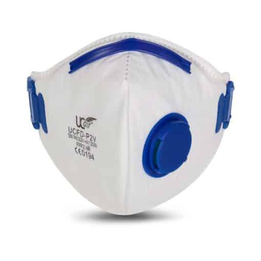 P2 Disposable FFP2 Fold Flat Mask with Exhalation Valve – Box of 10