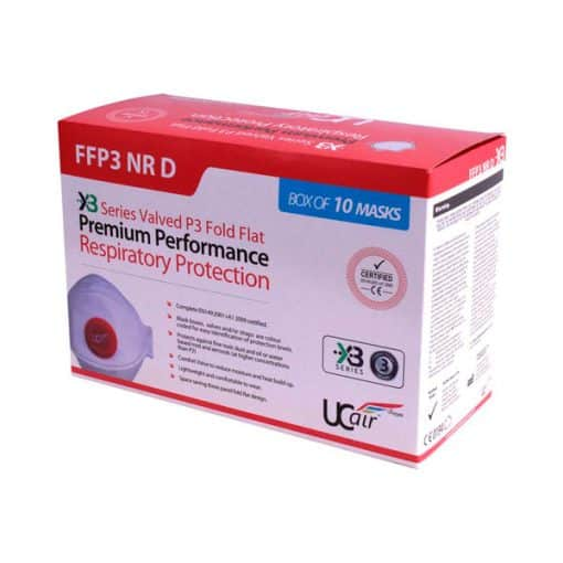 P3 Disposable Tri-fold Valved FFP3 NR D Fold Flat Mask – Box of 10
