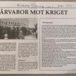 Klipp ur Rinkeby Tidning från 1991. Insändare mot kriget. Bild på demonstrationståg.