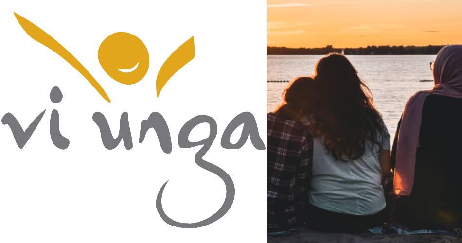 vi ungas logga bredvid en bild på någhra ungdomar som tittar på solnedgången