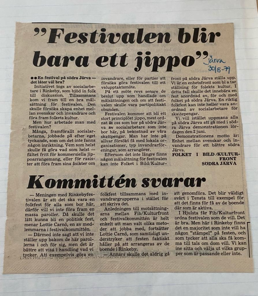 Tidningsklipp. Insändare som tycker festivalen i Rinkeby är ett jippo. Kommittén svarar.