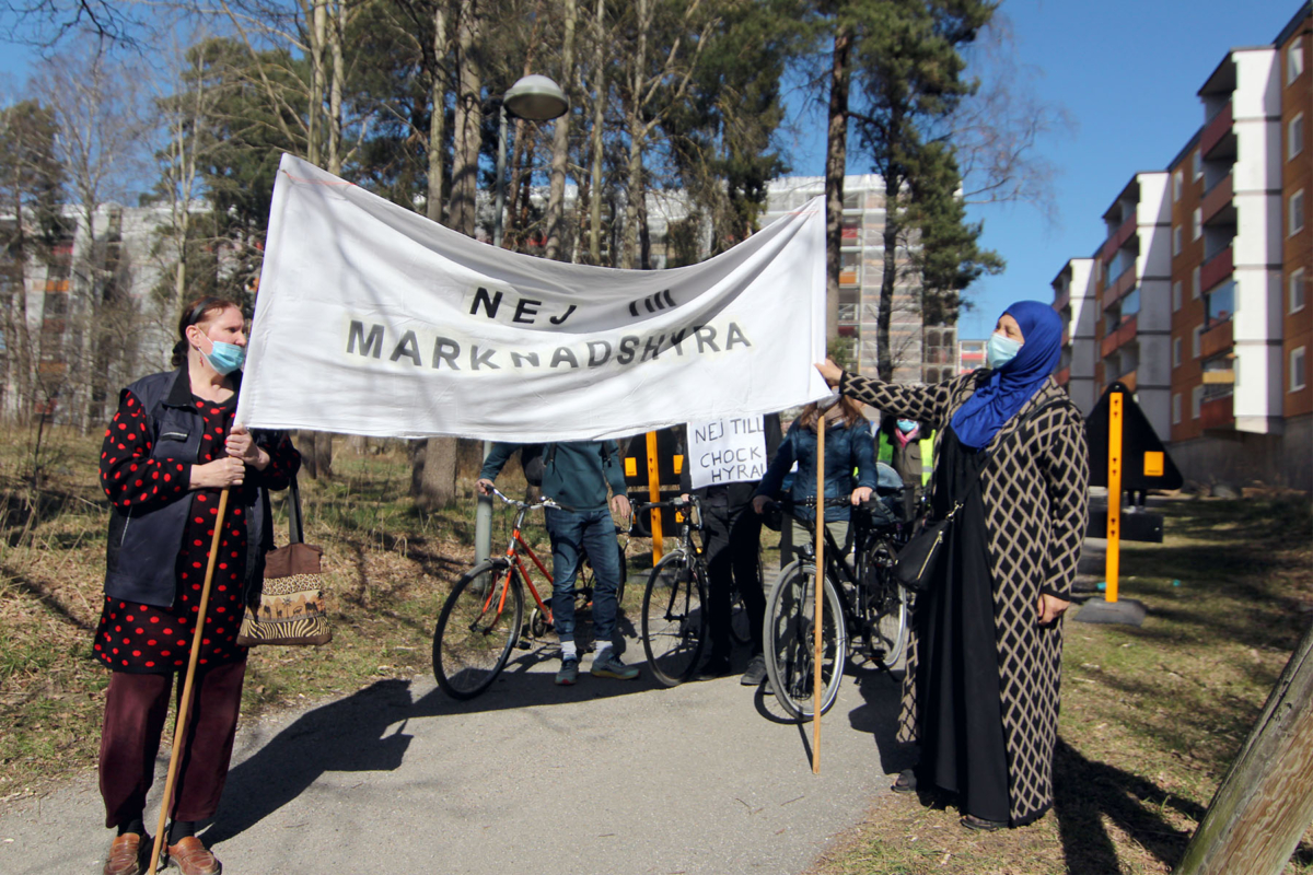 Demonstrationståg mot marknadshyra i Husby