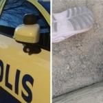 två bilder: en polisbil och ett par barntofflor