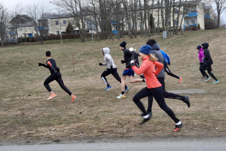 Löpare springer jämsides på Järvafältet.