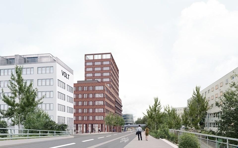 Arkitektbild av planerat bygge i Kista