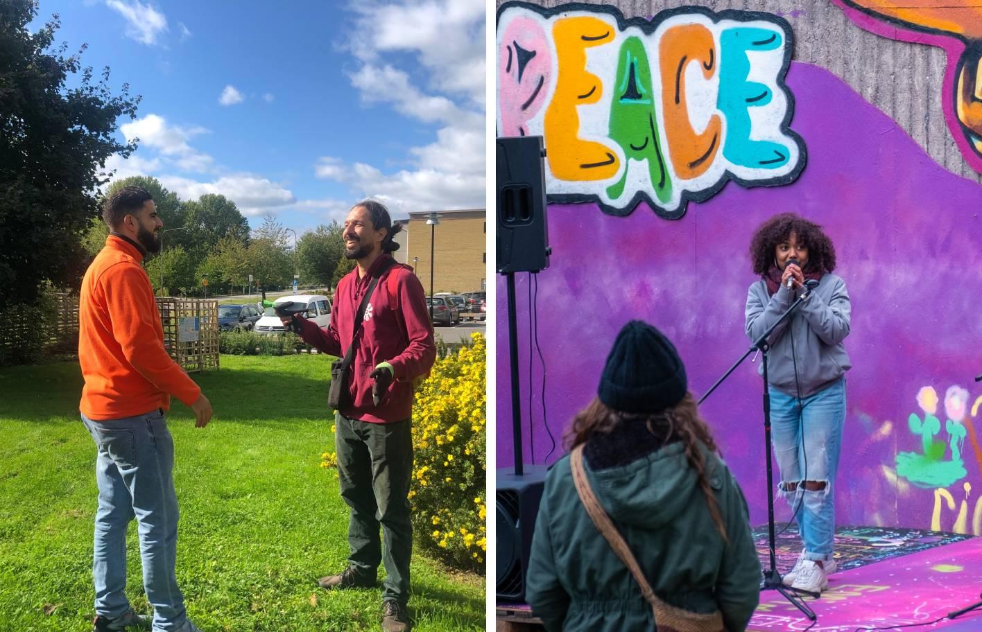 mustafa och damir bredvid en bild från skördefesten 2019