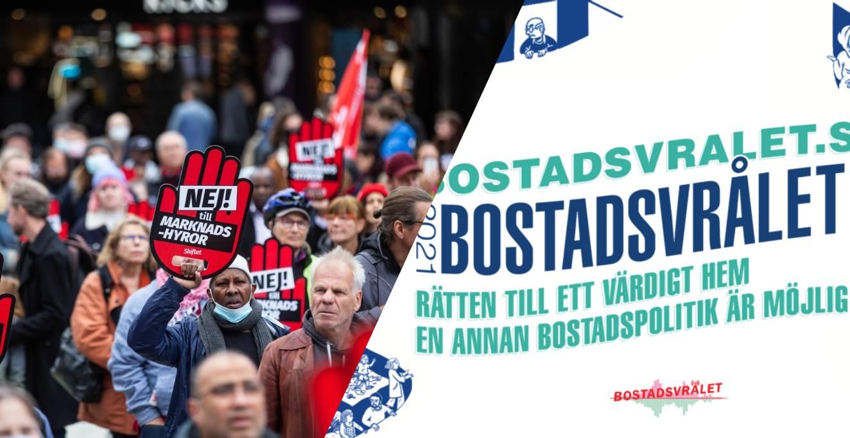Bostadsvrålets logga och människor som demonstrerar mot marknadshyra