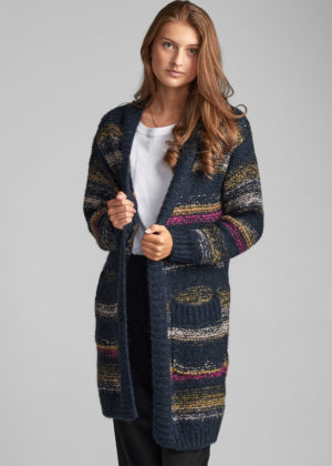 Nümph 7520228 Nucharlie long cardigan blauw voorkant model