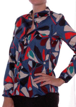 03-1892-3054-1 milano italy denim print blouse
