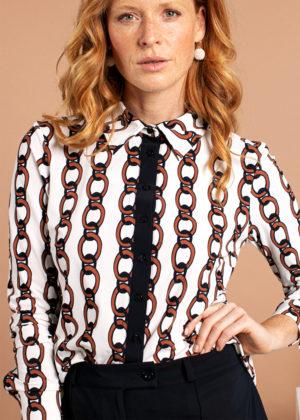 Studio Anneloes 04989-1385 poppy chain blouse ecru cognac