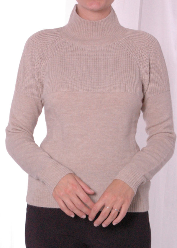 Emotions 241130 Mock neck with rib almond voorkant