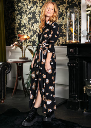 Studio Anneloes Indy flower dress 3 4 cuff black camel 04925