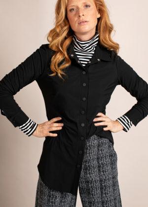 Studio Anneloes Poppy press button blouse 04966-9000 black zwart model foto