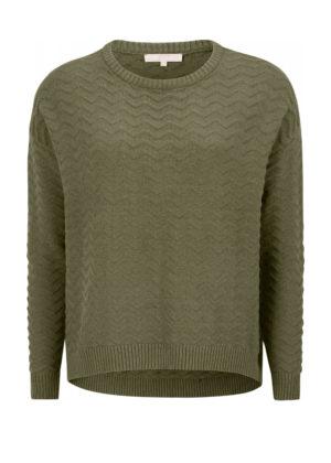 SR520-209 Kabla O-neck knit dark olive