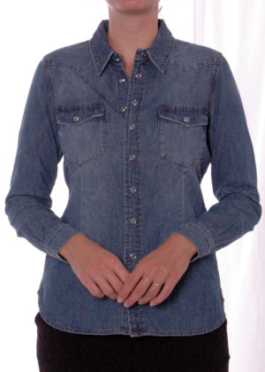 SRB2751 boby blouse blue denim voorkant