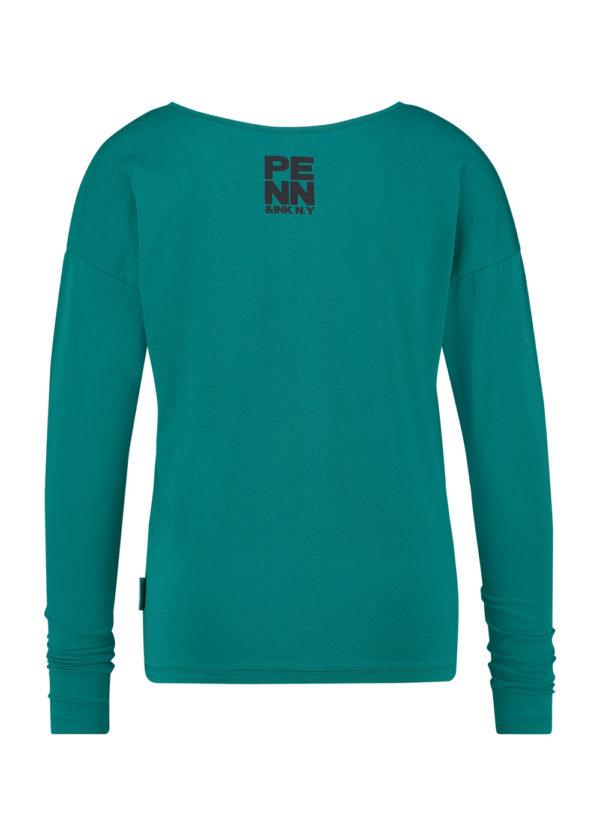 W20F843 PENN & iNK N.y. longsleeve t-shirt emerald achterkant print