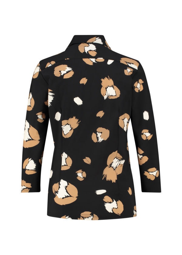 Studio Anneloes poppy flower shirt 3 4 black camel 04926 packshot achterkant