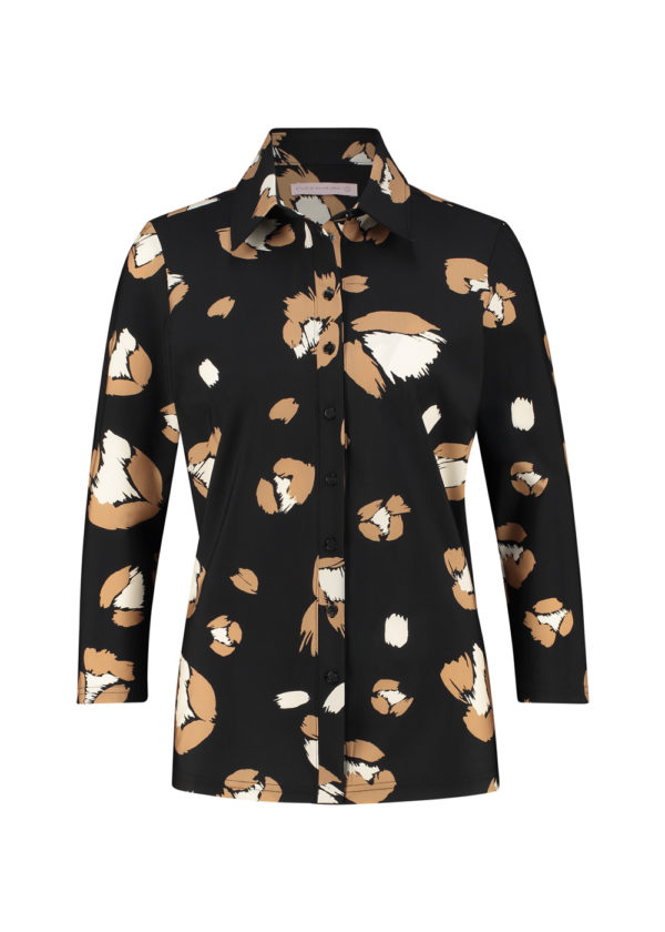 Studio Anneloes poppy flower shirt 3 4 black camel 04926 packshot voorkant