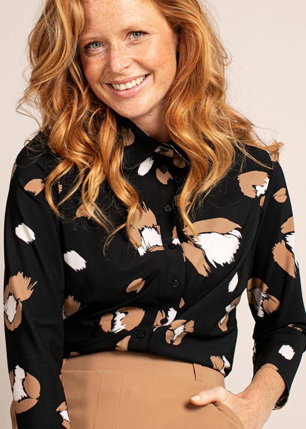 Studio Anneloes poppy flower shirt 3 4 black camel 04926