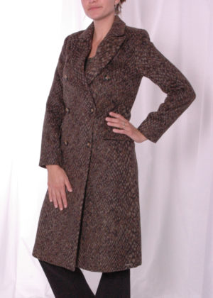 Loyce wool coat Dark chocolate snake Rino & Pelle