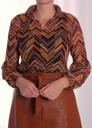 I-coni-K Bonnie brown striped mesh top