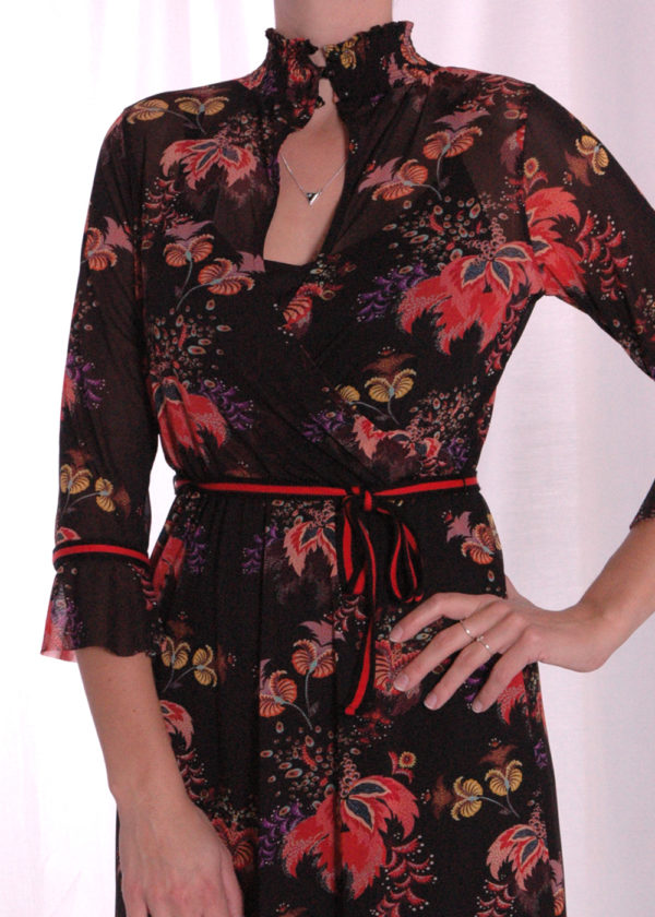 I-coni-K Carley colored flower mesh dress closeup voorkant