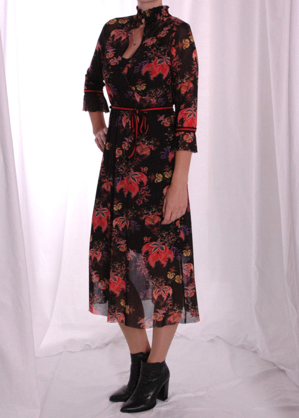 I-coni-K Carley colored flower mesh dress zijkant open