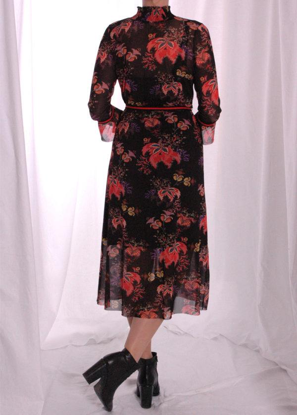I-coni-K Carley colored flower mesh dress achterkant dicht