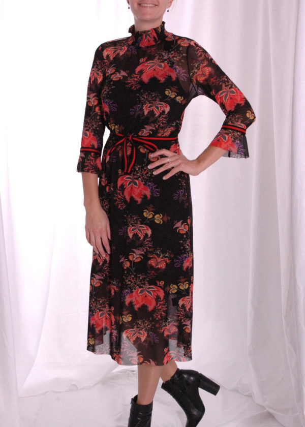 I-coni-K Carley colored flower mesh dress VOORKANT dicht