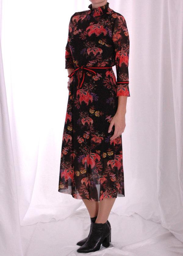 I-coni-K Carley colored flower mesh dress zijkant dicht