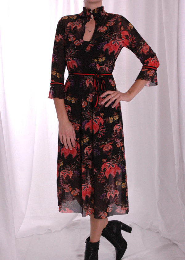 I-coni-K Carley colored flower mesh dress voorkant open