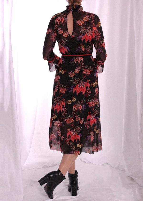 I-coni-K Carley colored flower mesh dress achterkant open