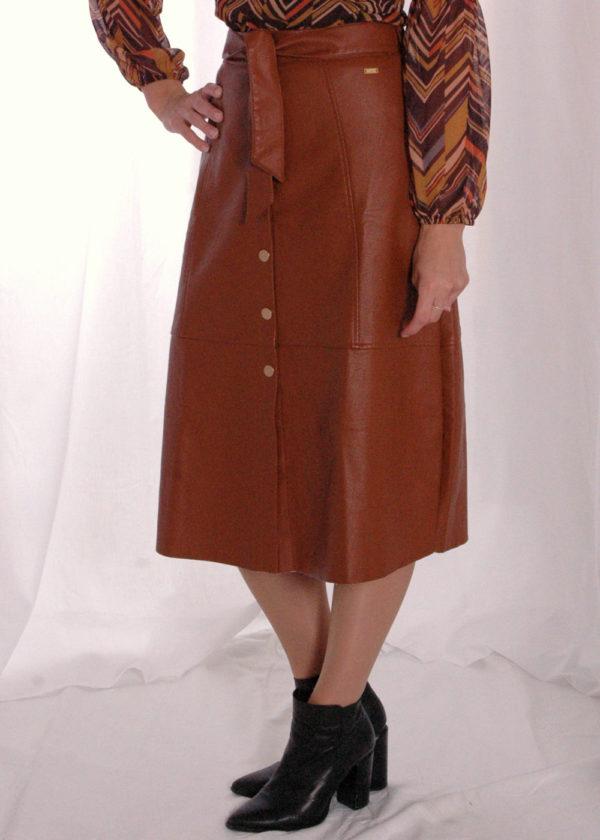 I-coni-K Naafi PU skirt cognac voorkant