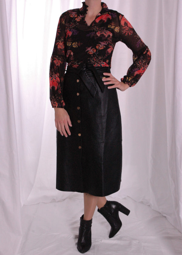 I-coni-K Bonnie colored flower mesh top outfit naaf skirt pu