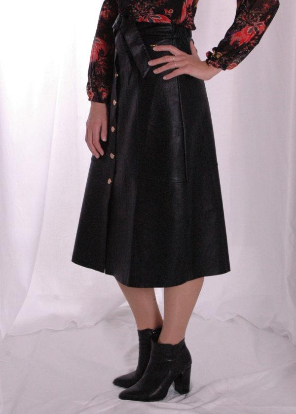 I-coni-K Naafi PU skirt black voorkant