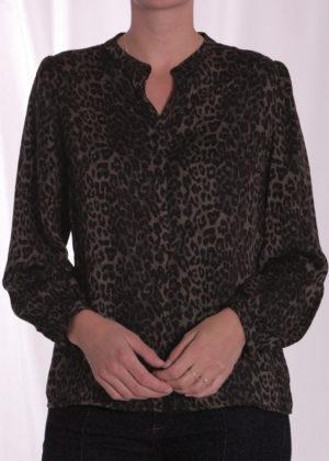 Smith & Soul khaki print blouse 0920-0902 voorkant