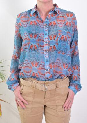 Dividere Delft vogel mix blouse front