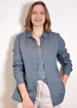 Emotions Basic blouse 221075 vintage blue front open