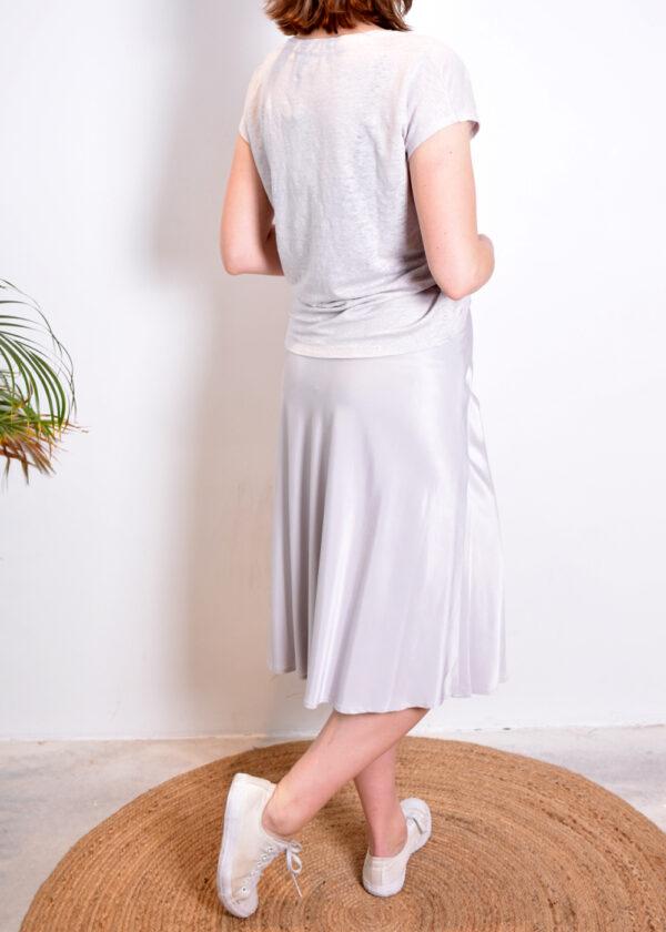 Emotions Skirt midi satin 221088 light grey achterkant geheel