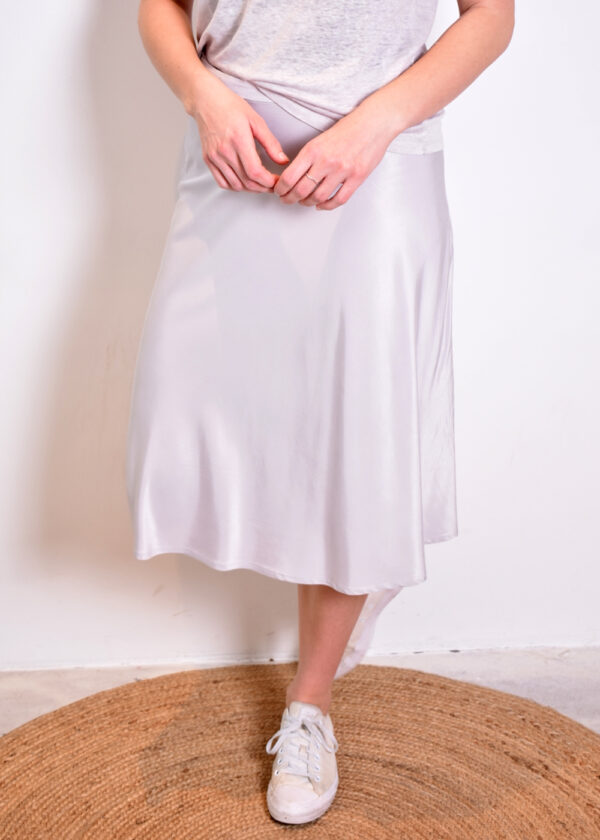 Emotions Skirt midi satin 221088 light grey voorkant