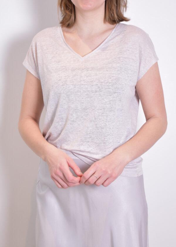 Emotions T-shirt v-neck 221035 Light grey front