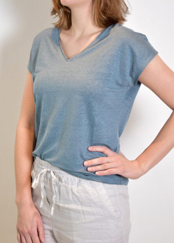 Emotions T-shirt v-neck 221035 Vintage blue side