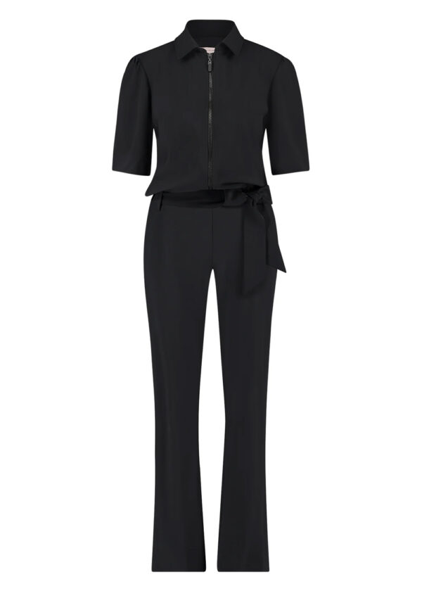 Studio Anneloes Eliza zipper jumpsuit 05499-9000 black packshot front