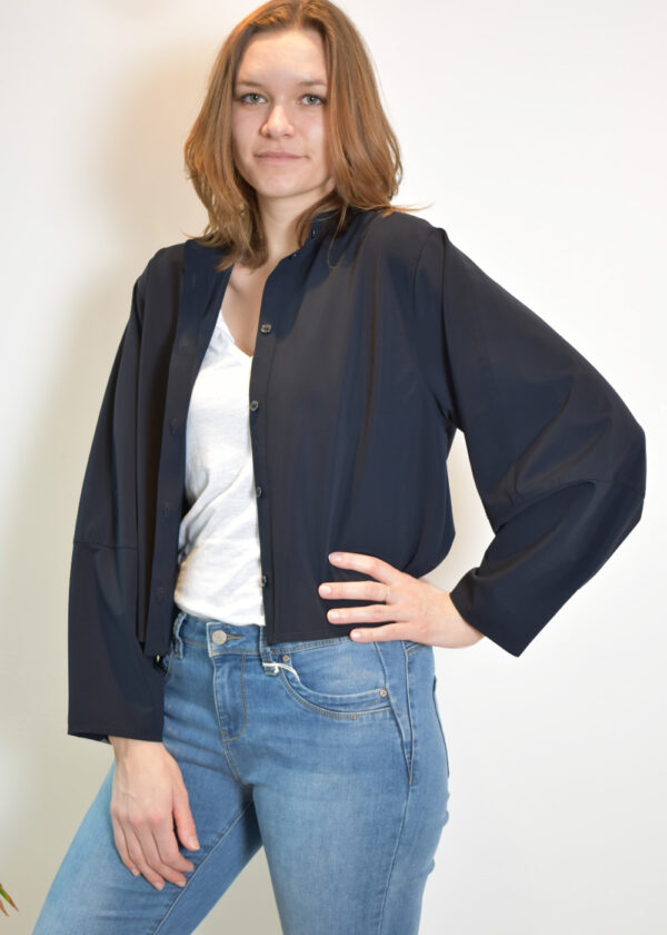 Penn & Ink Blouse N953 front open outfit