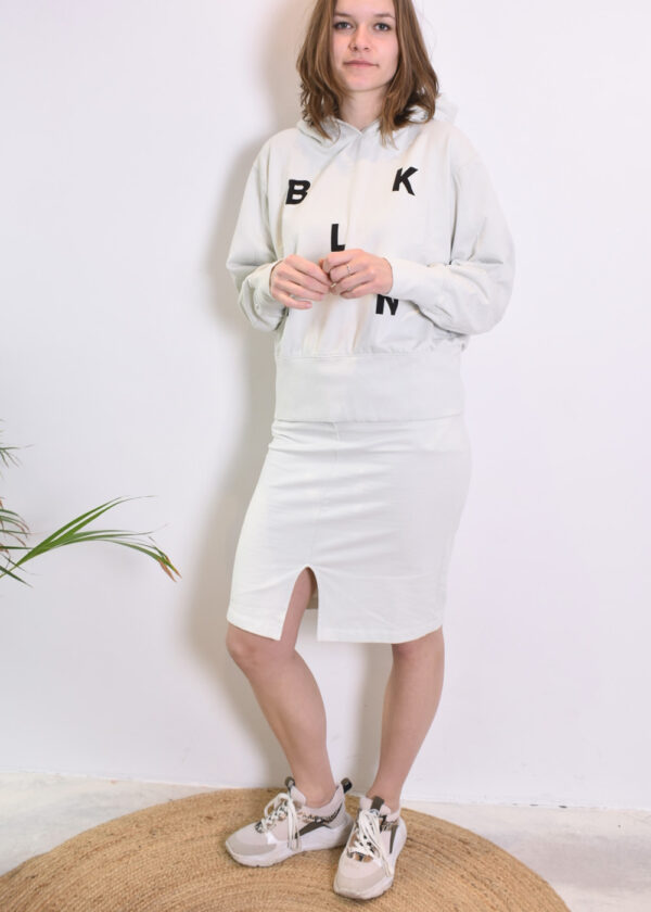 Penn & Ink N.Y. Skirt S21F873 en sweater S21F869 barely